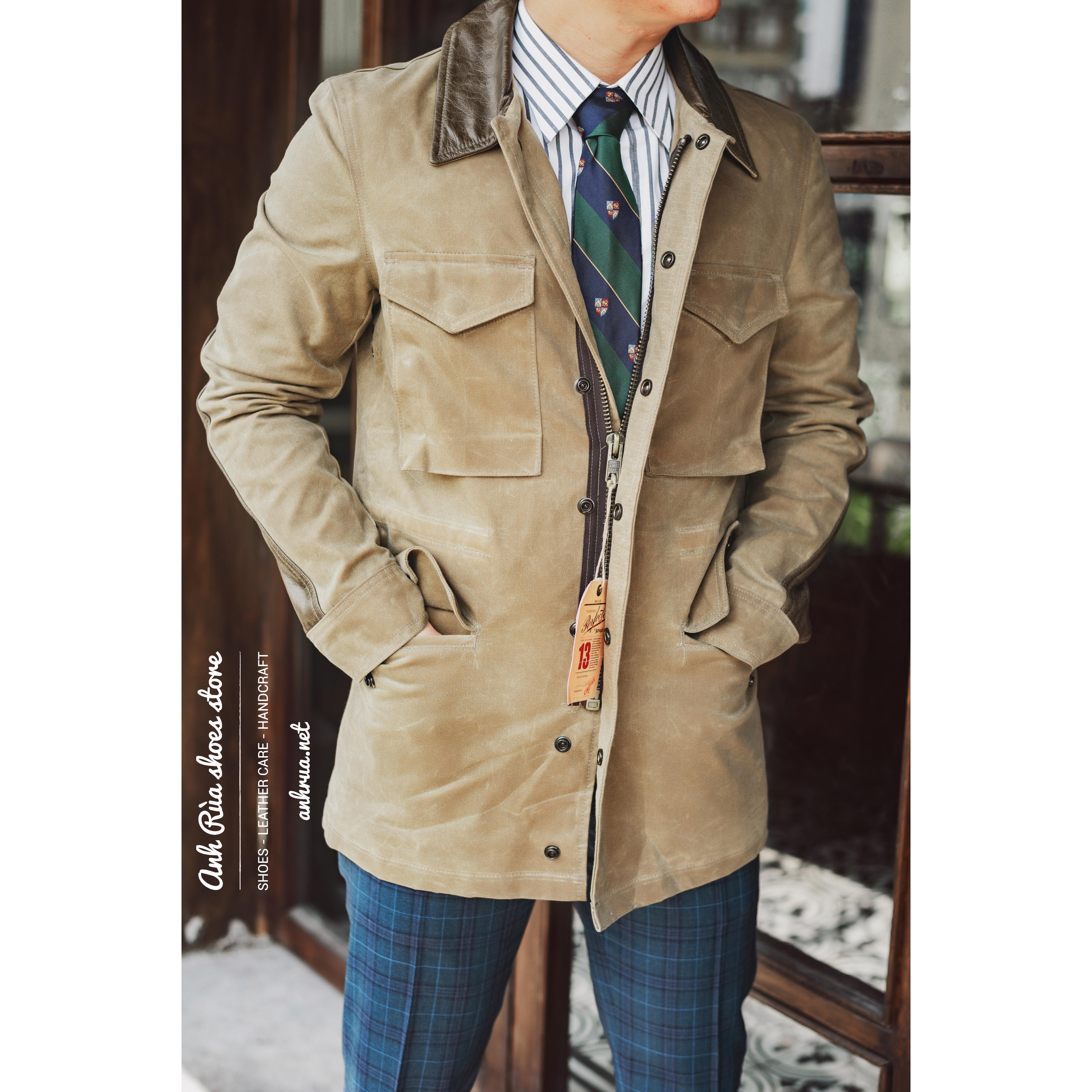 Áo Khoác Da Khaki Nam Olive Field Jacket Schott