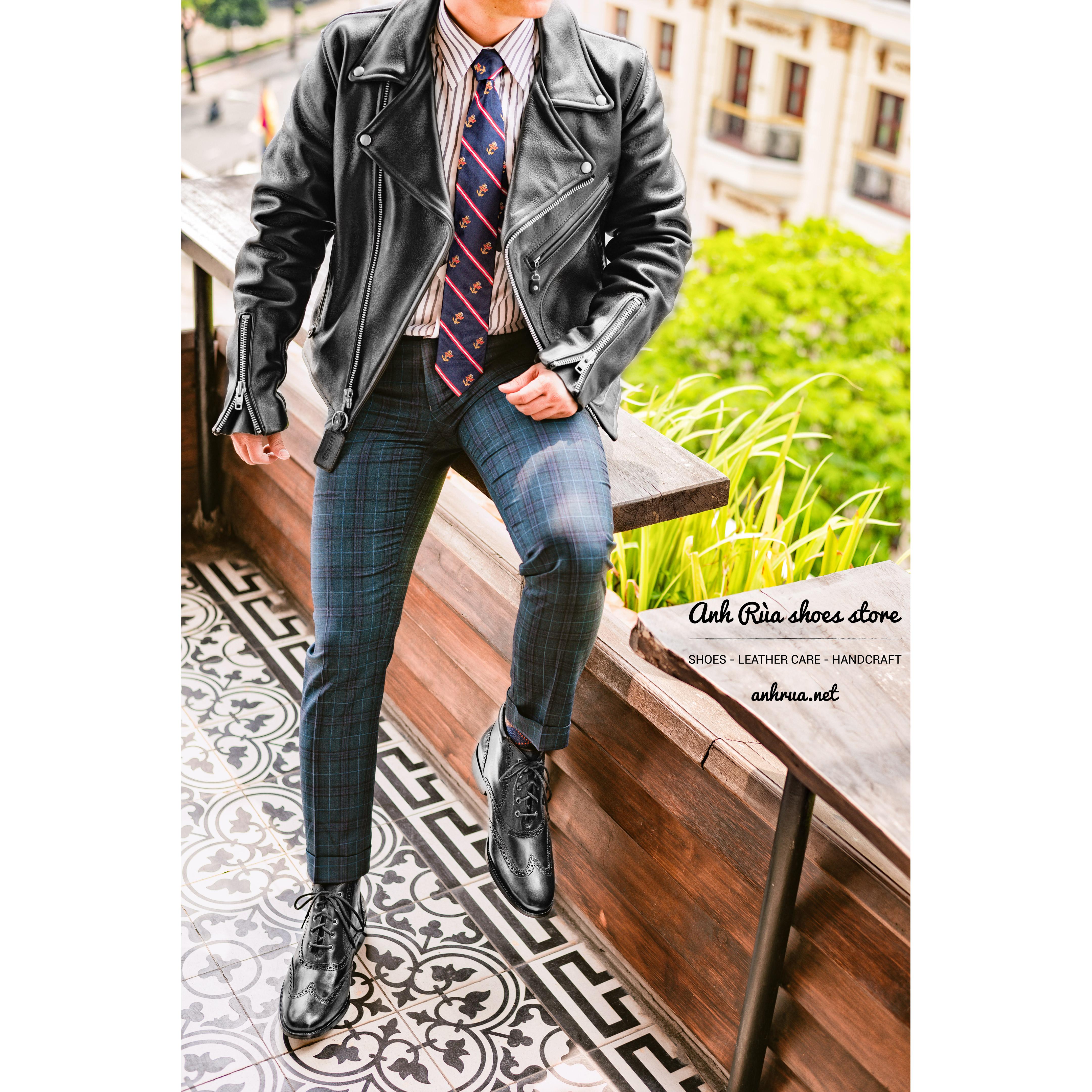 Áo Khoác Da Nam Black D pocket Double Rider Jacket Vanson Leathers