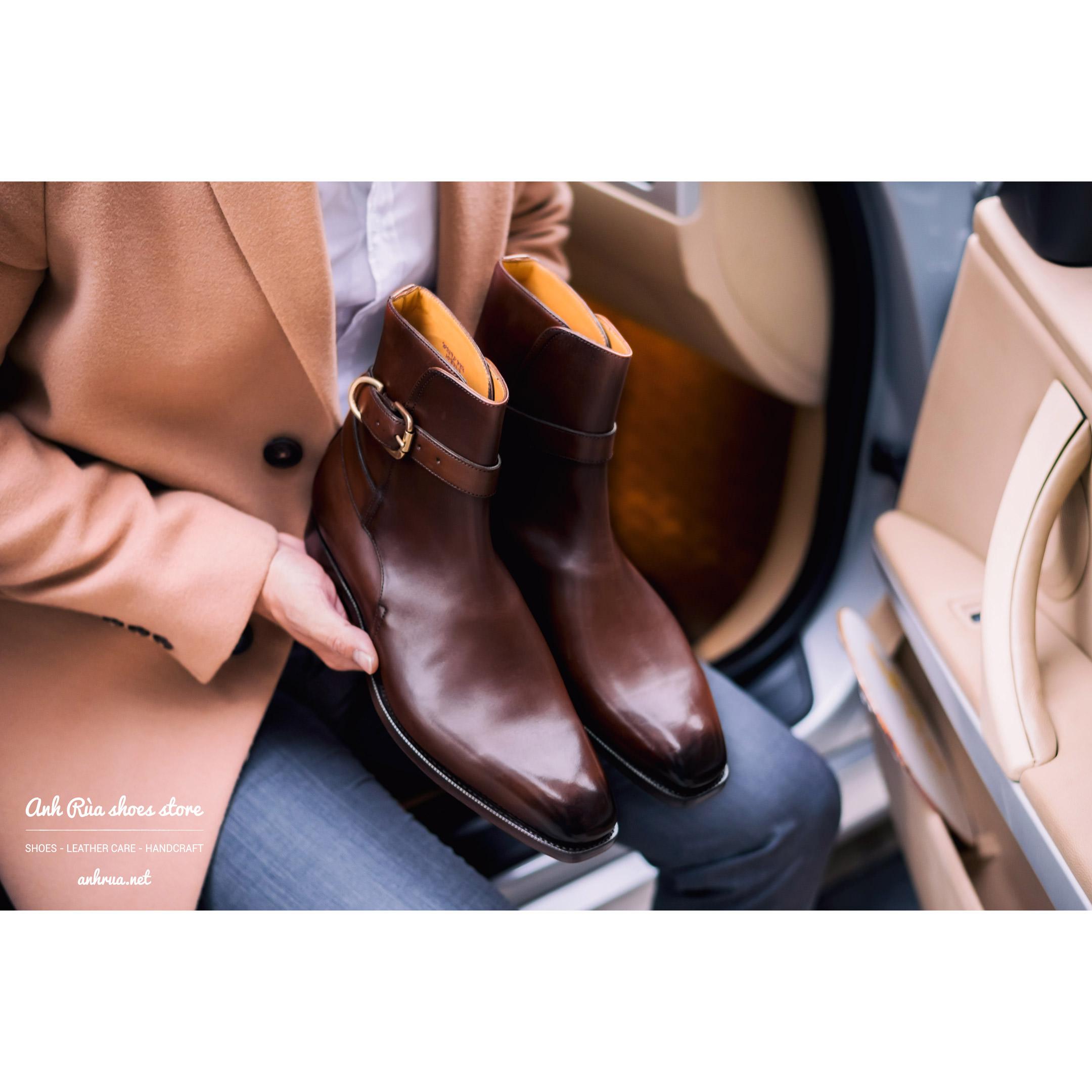 Giày Bốt Nam Medium Brown Jodhpur boots Edward Green for Ralph Lauren Purple Label