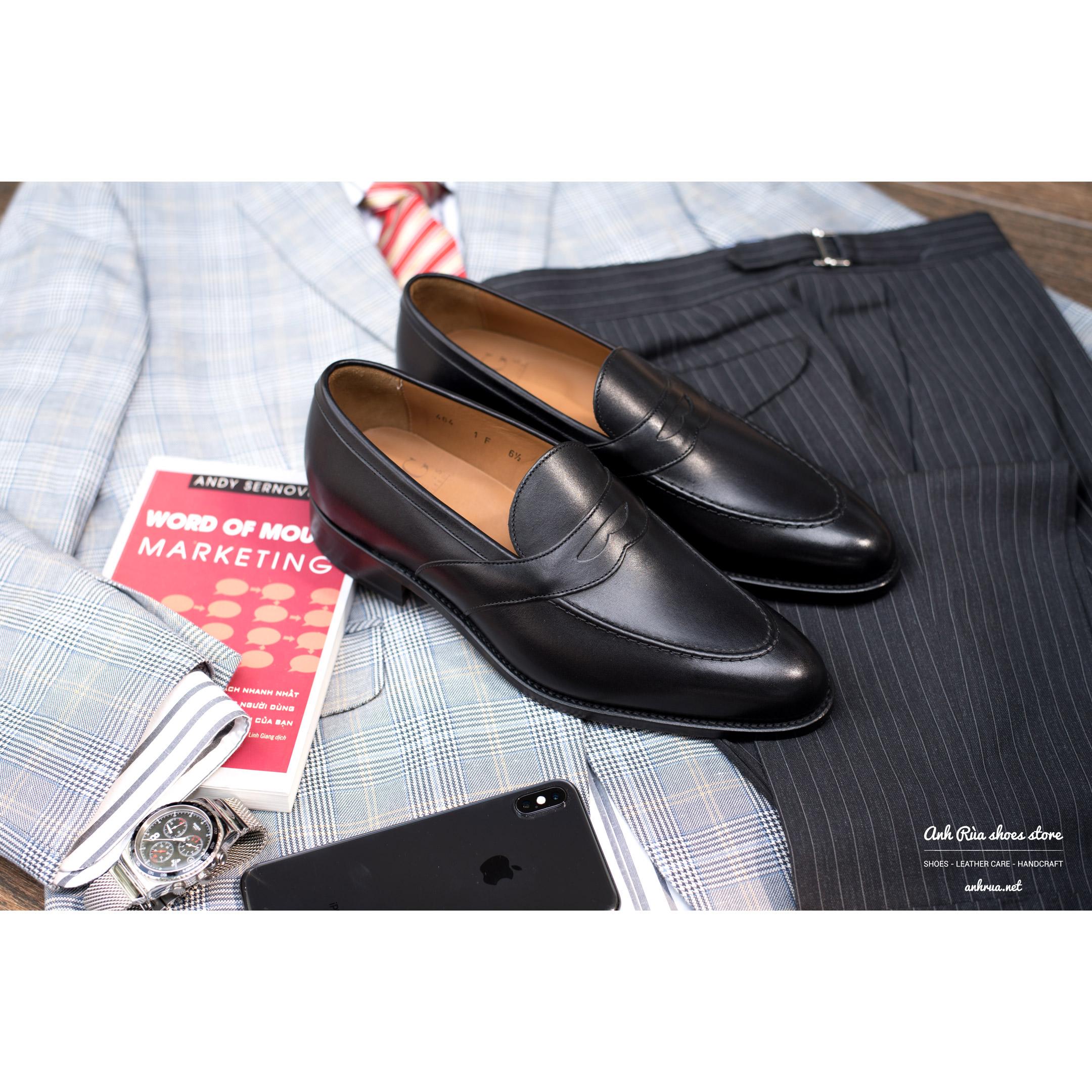 Giày Lười Nam Black Saddle Loafers LodinG