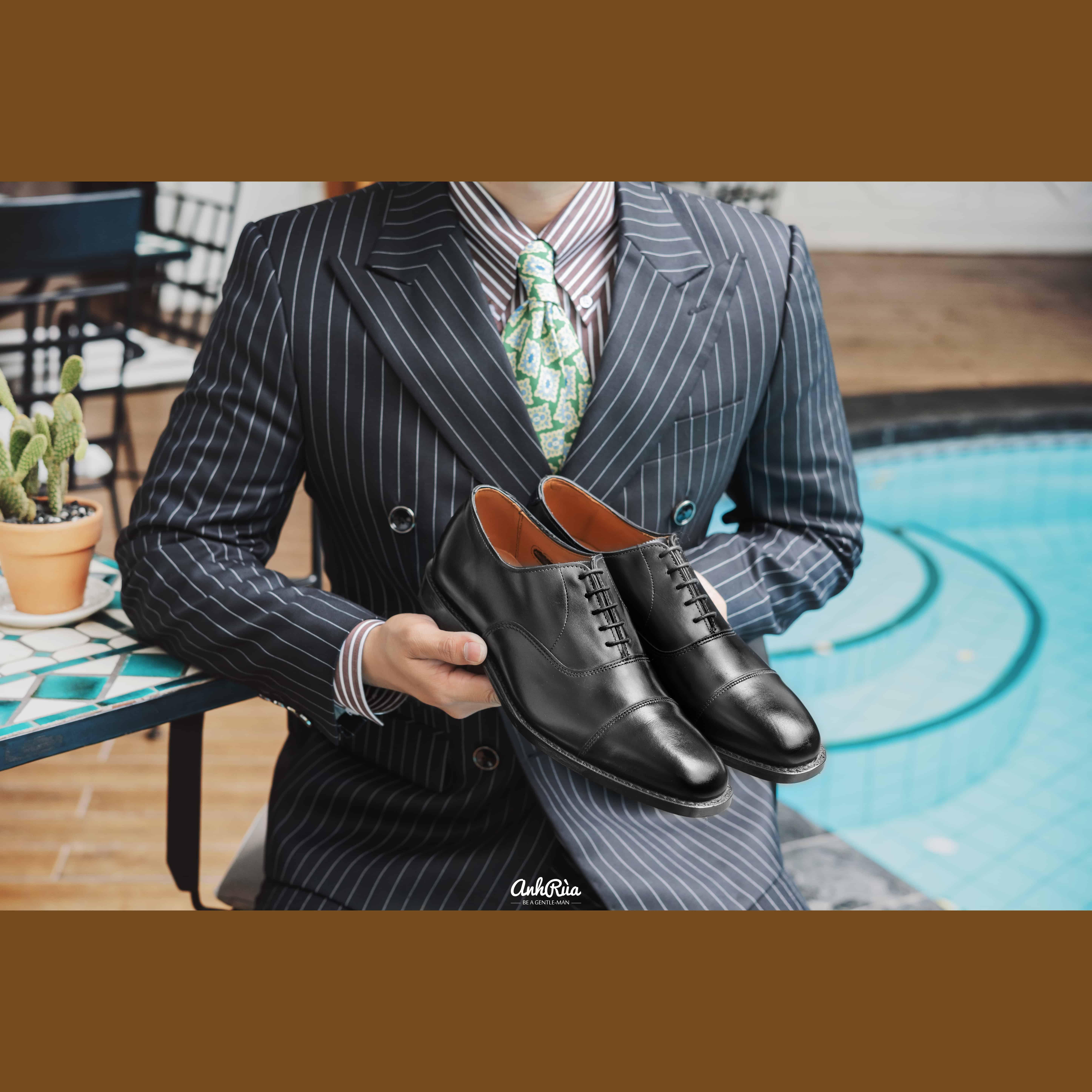 Giày Tây Nam Black Captoe Oxfords Allen Edmonds