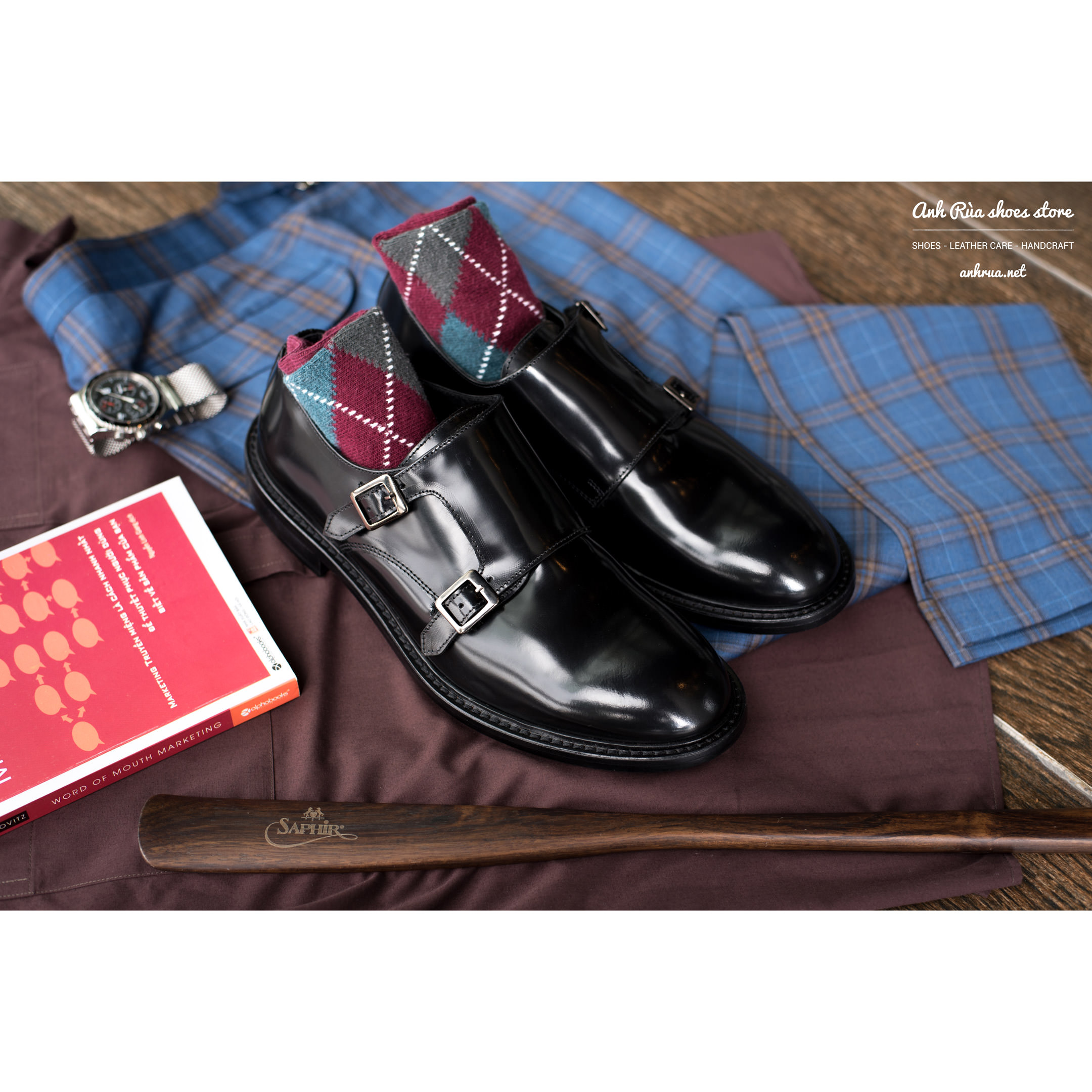 Giày Tây Nam Black Double Monkstrap KCNY