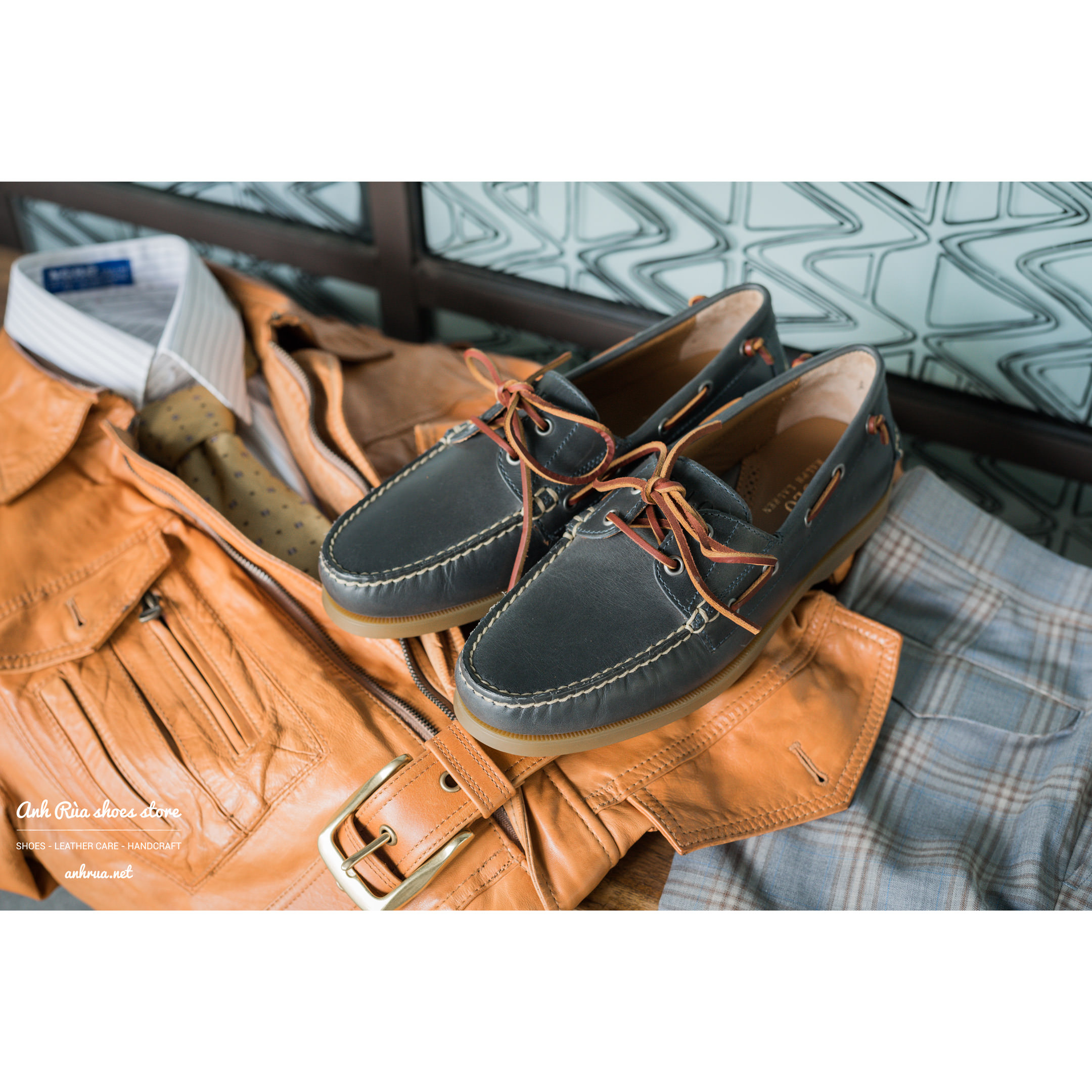 Giày Thuyền Nam Dark Grey Boat Shoes Polo Ralph Lauren