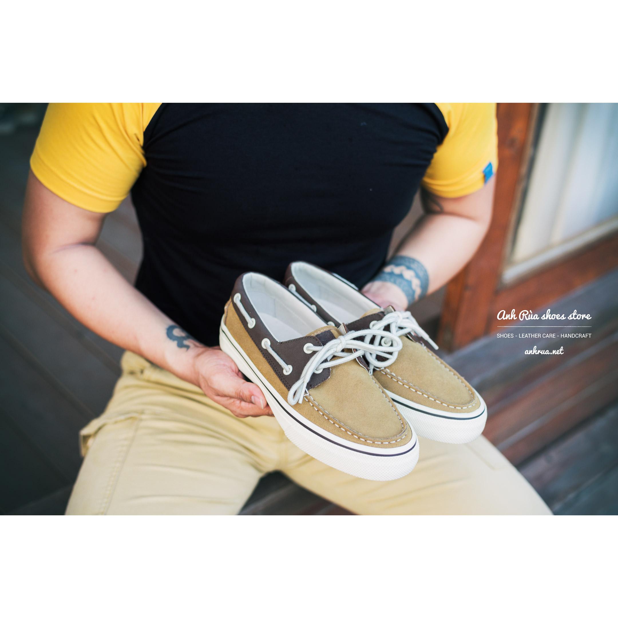 Giày Thuyền Nam Tan Boat Shoes Bass