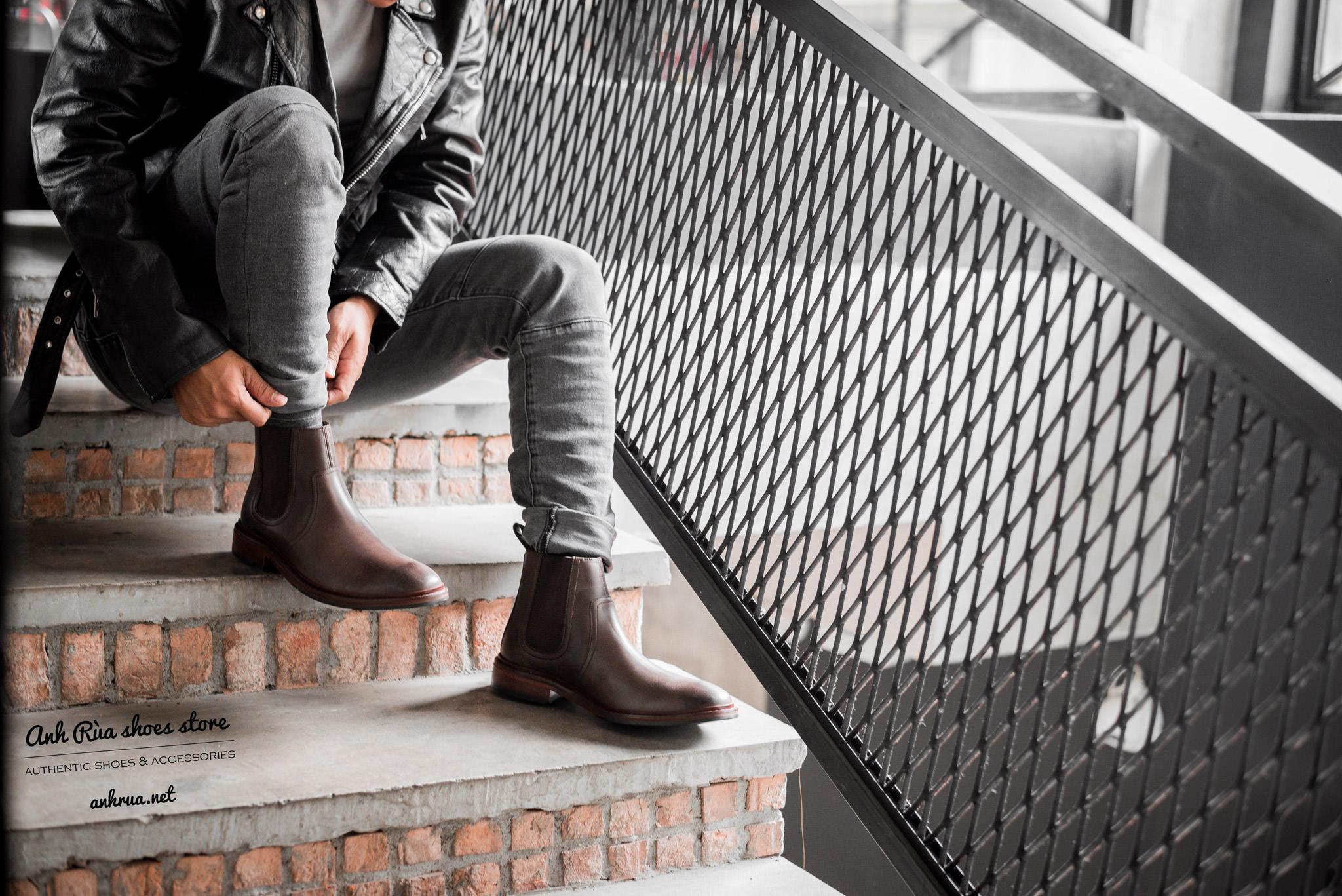 Giày boots nam Medium brown Chelsea