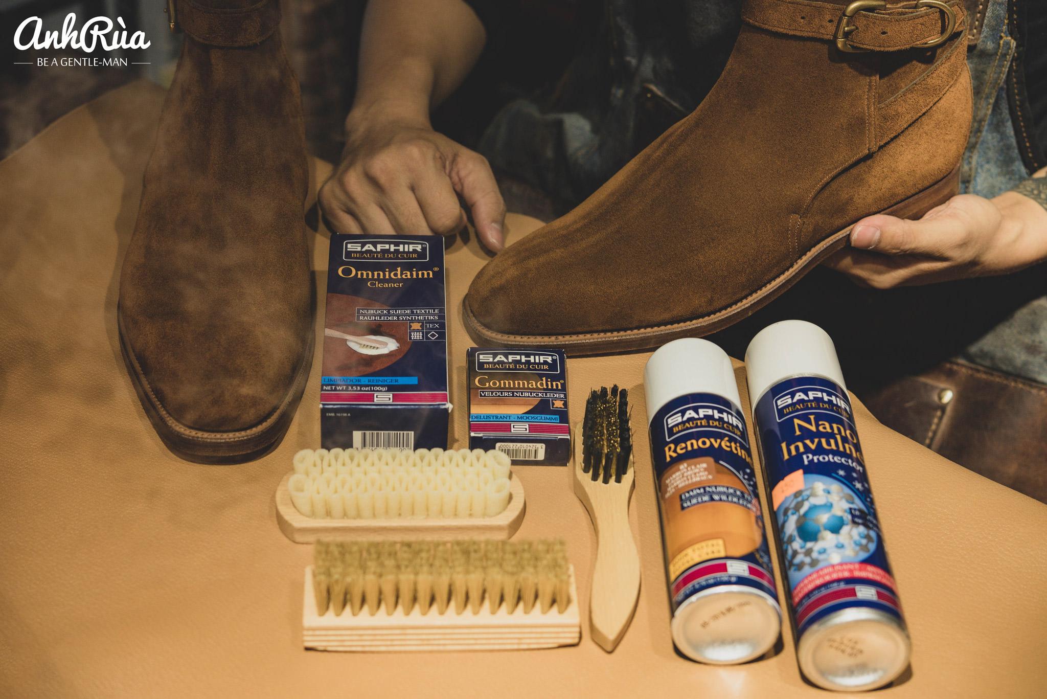 bộ sản phẩm làm sạch giày da lộn