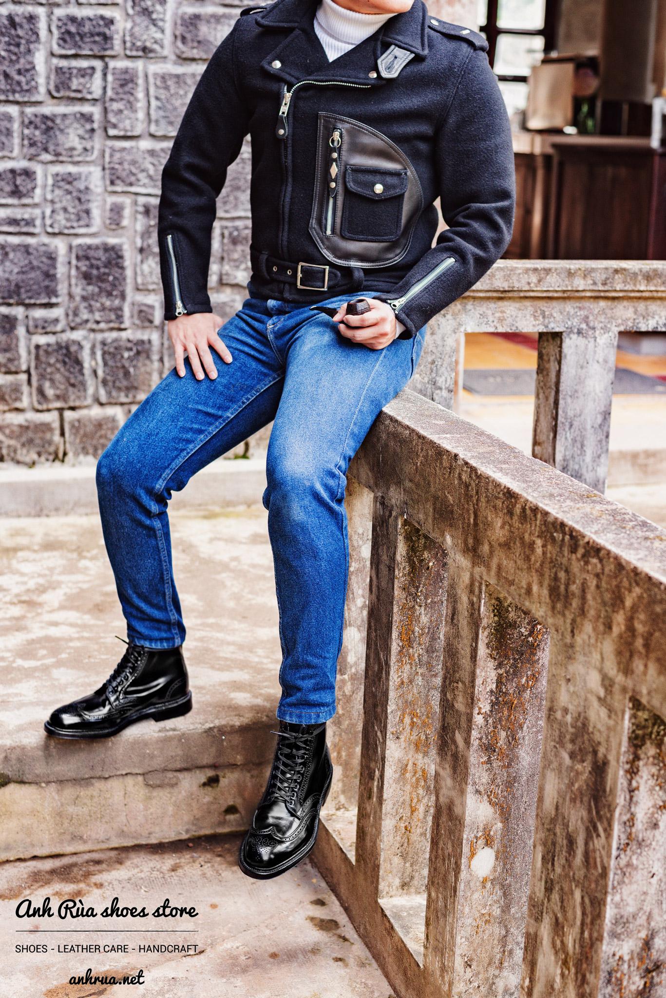 Giày Bốt Nam Black Shell Cordovan Full Brogue Boots Alden