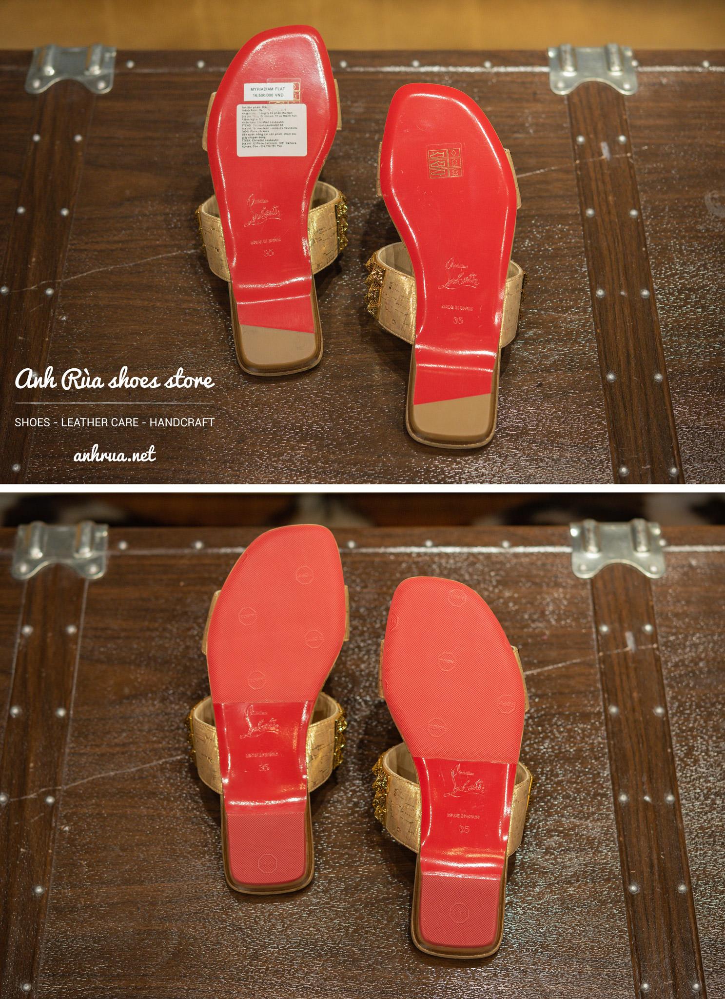 Dán đế giày Topy đỏ trước và sau
