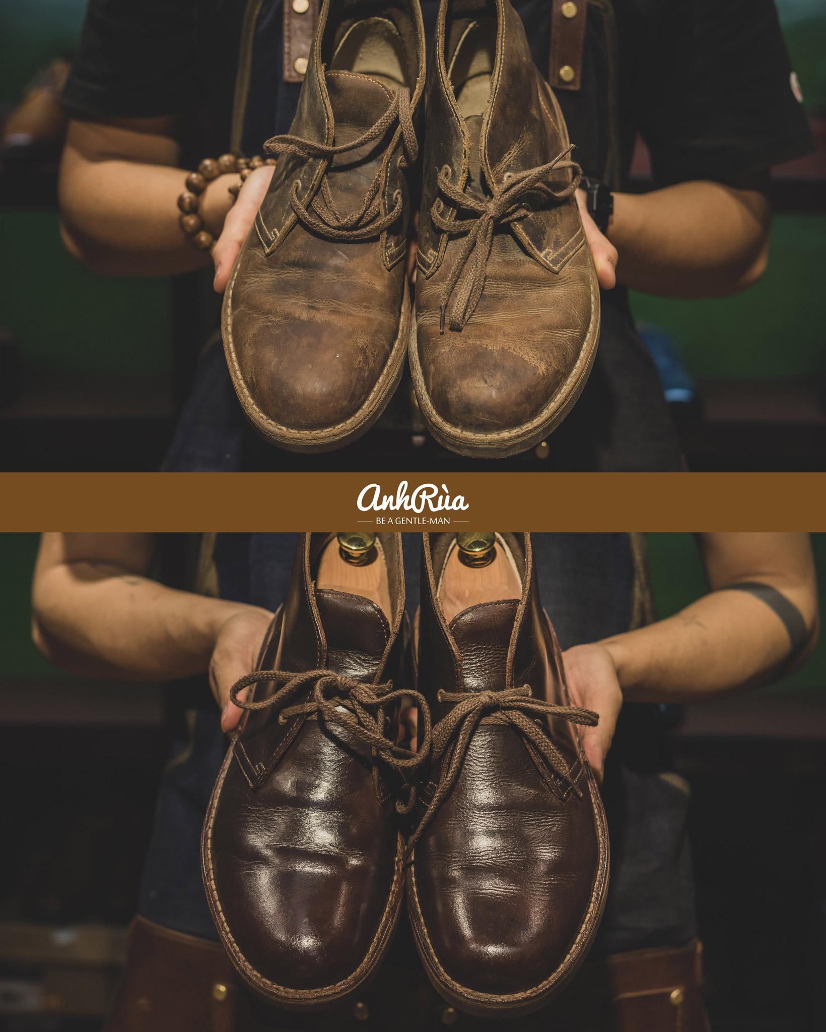 Đánh giày da pull up, dầu, sáp