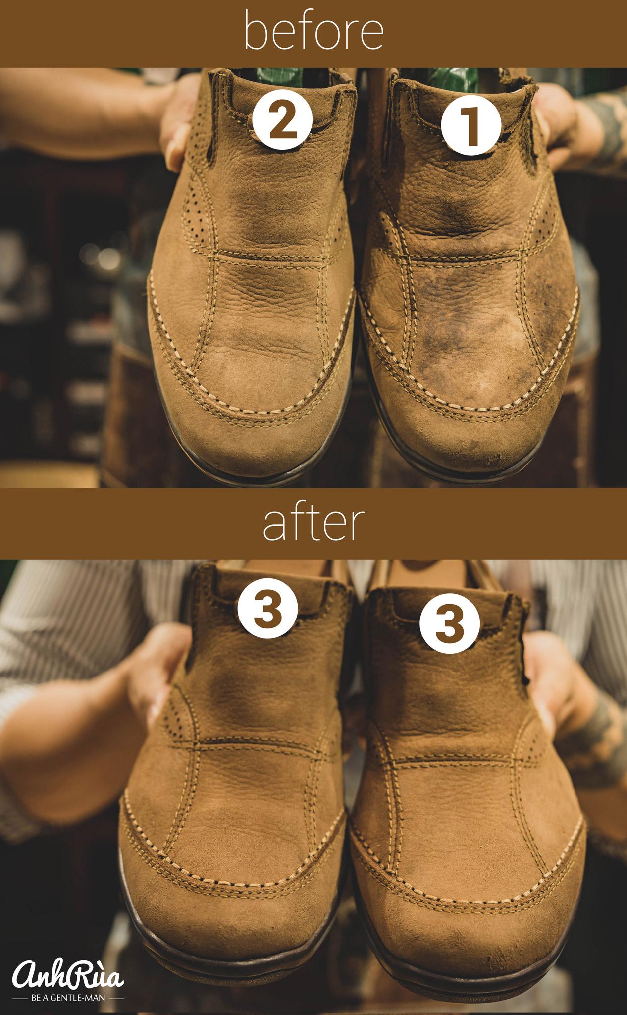 chăm sóc giày da lộn