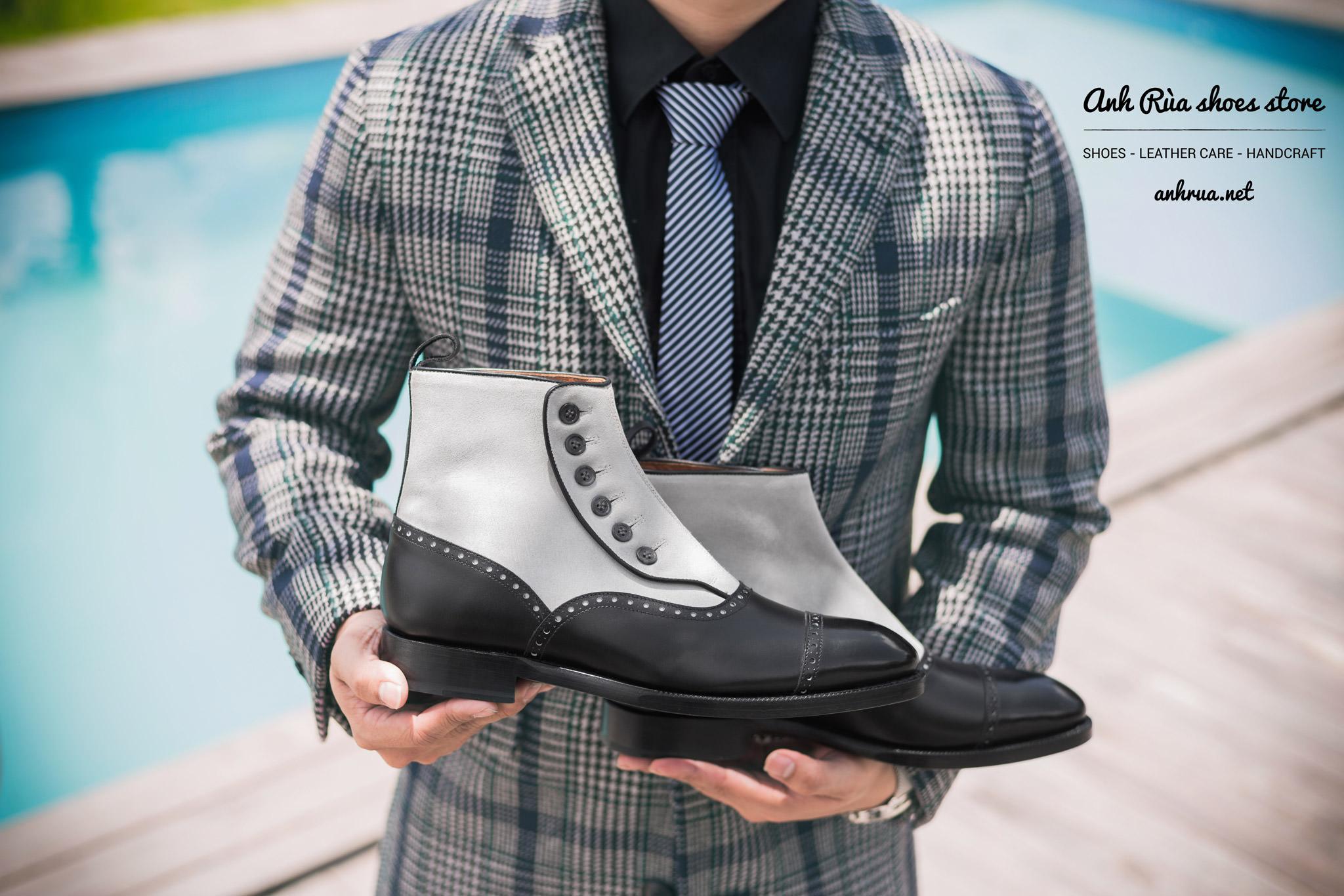 Giày boots nam button