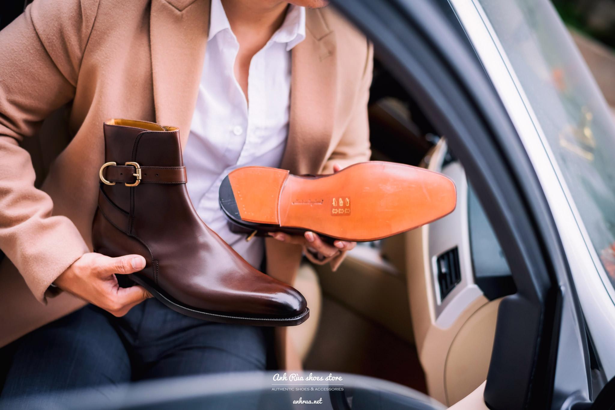 Giày boots nam jodhpur medium brown smooth leather