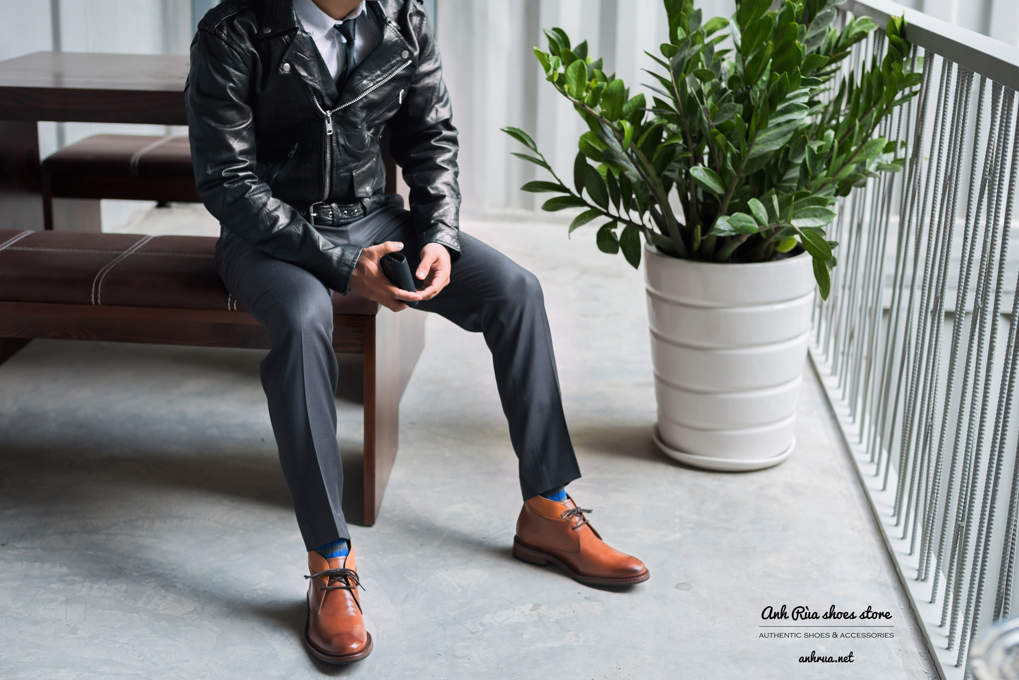 Giày nam công sở light brown chukkas