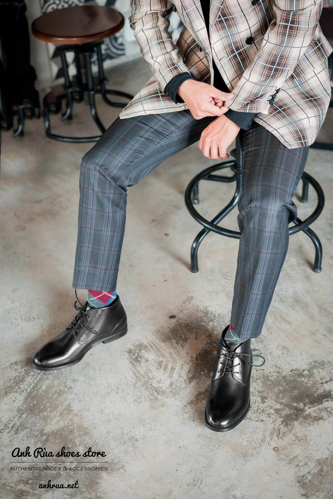 Giày boots nam plain toe