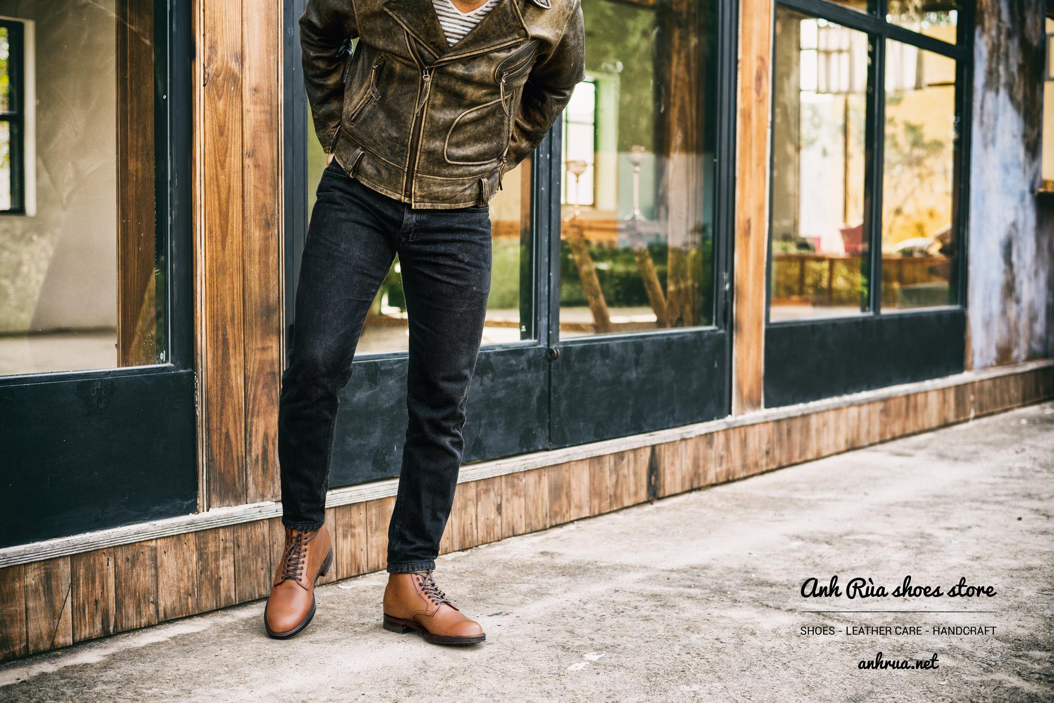 Giày tây nâu plaintoe boots