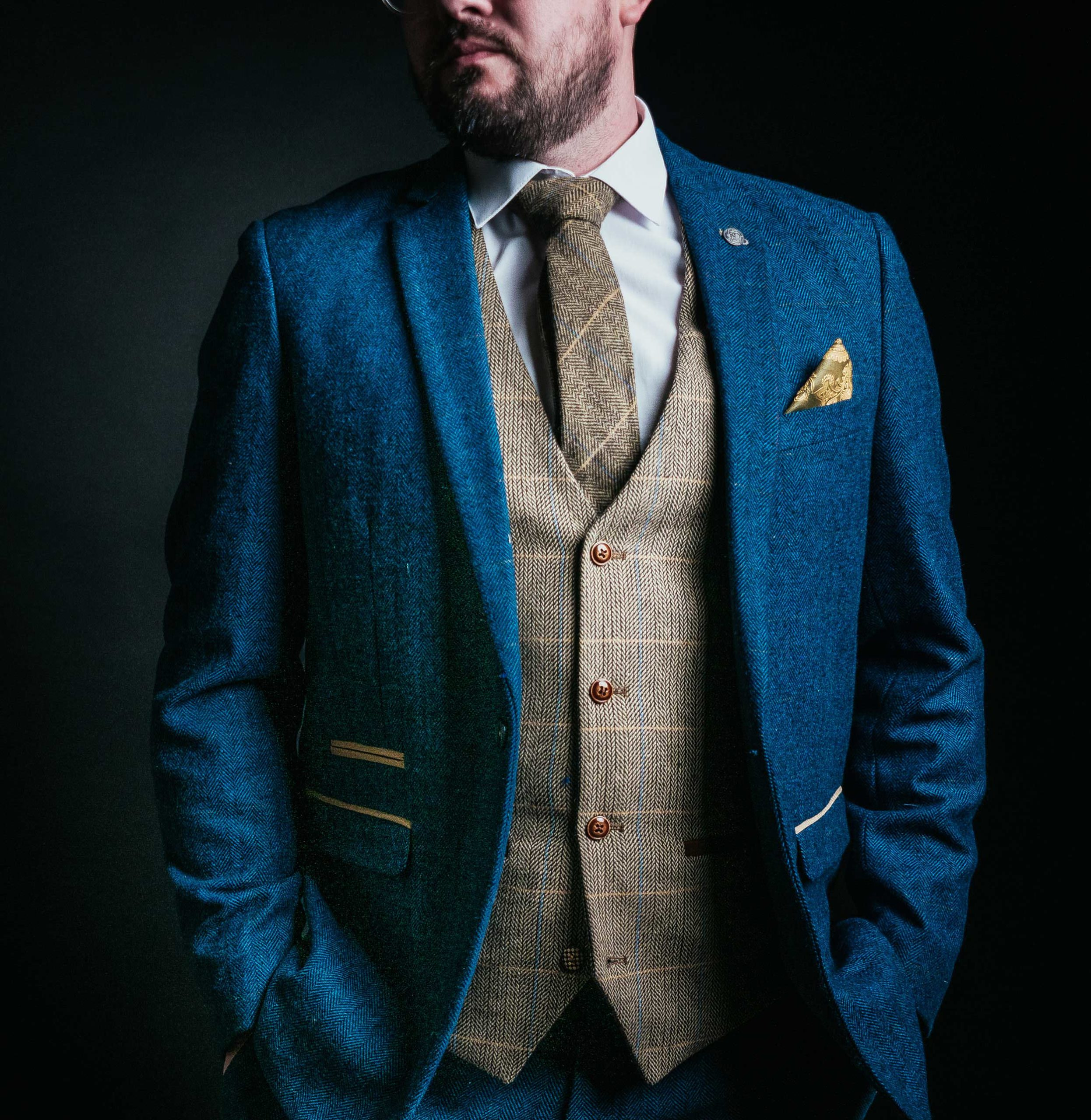 herringbone blue suit