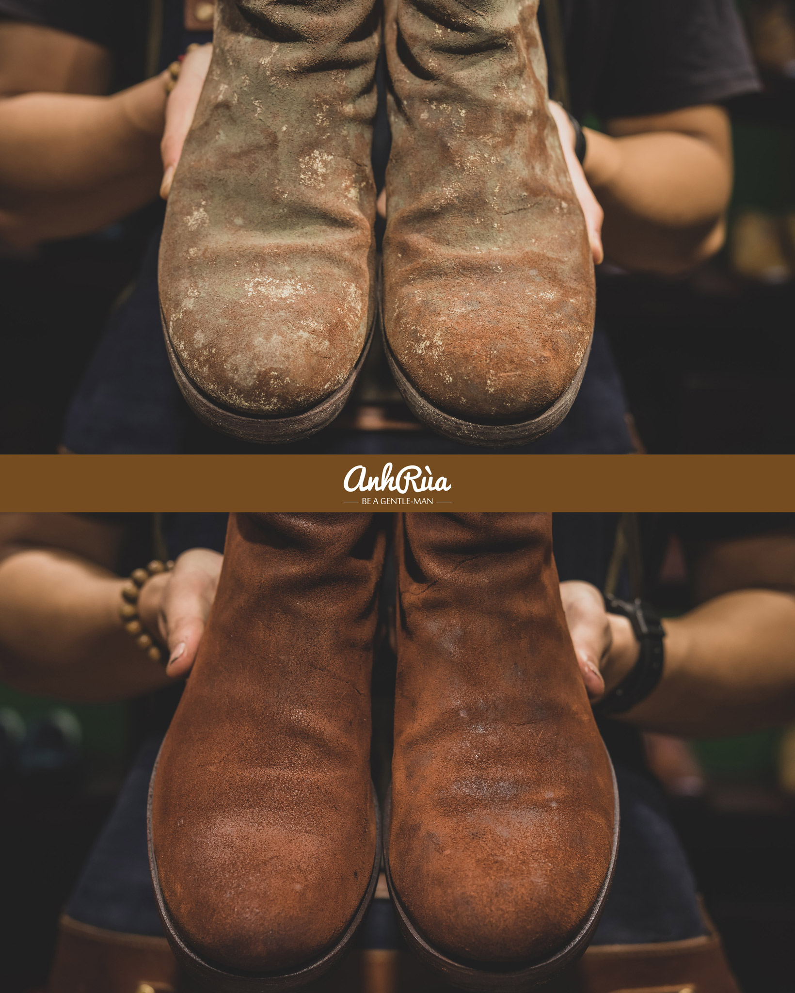 Làm sạch giày da lộn