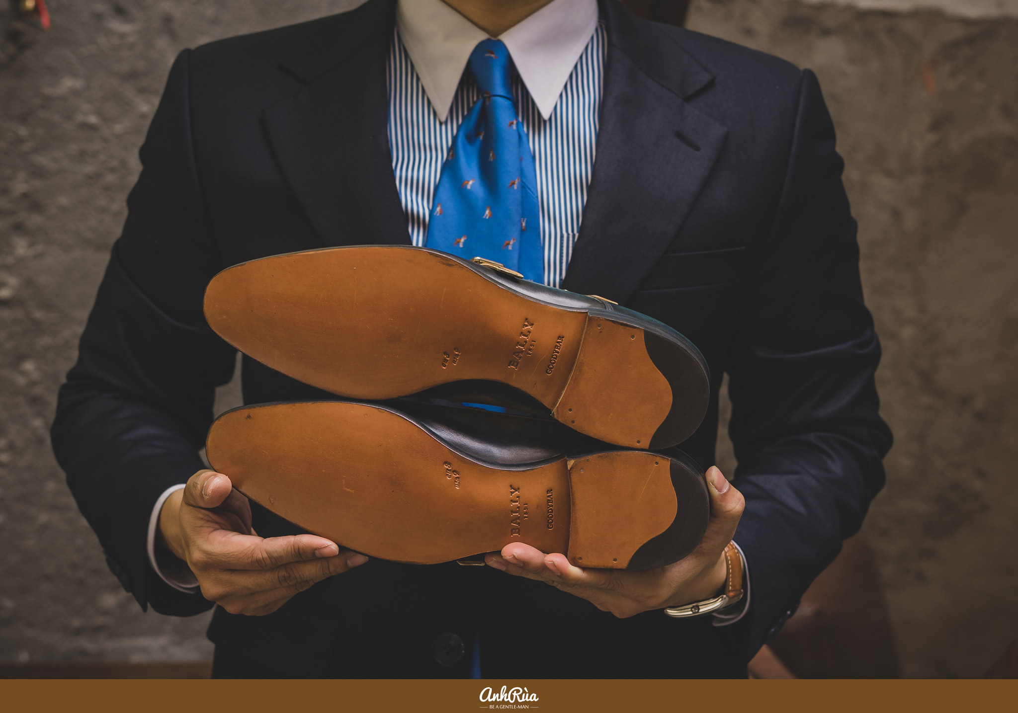 Đế da double monkstrap