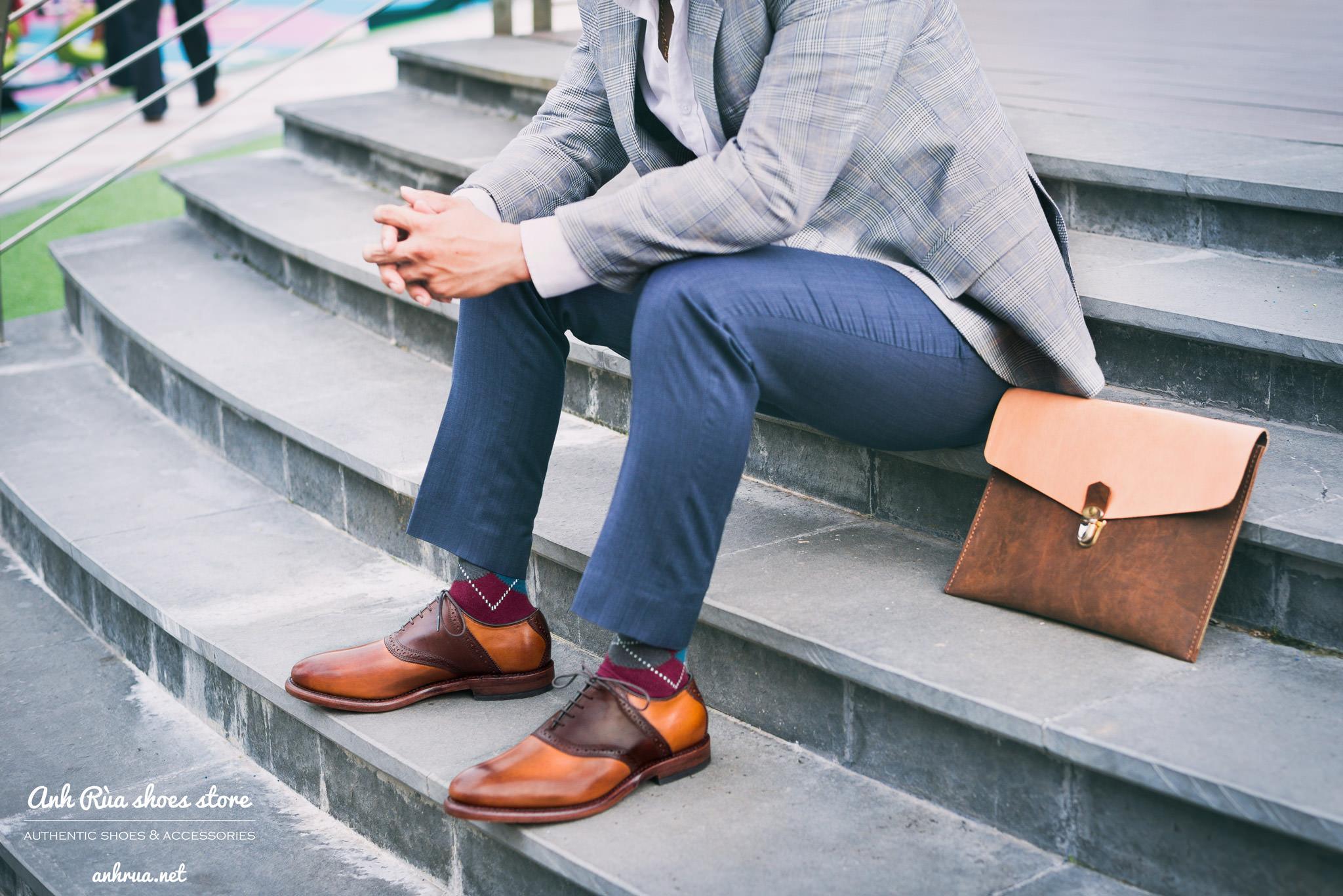 Giày tây spectators với 2 tone màu Light brown Medium brown