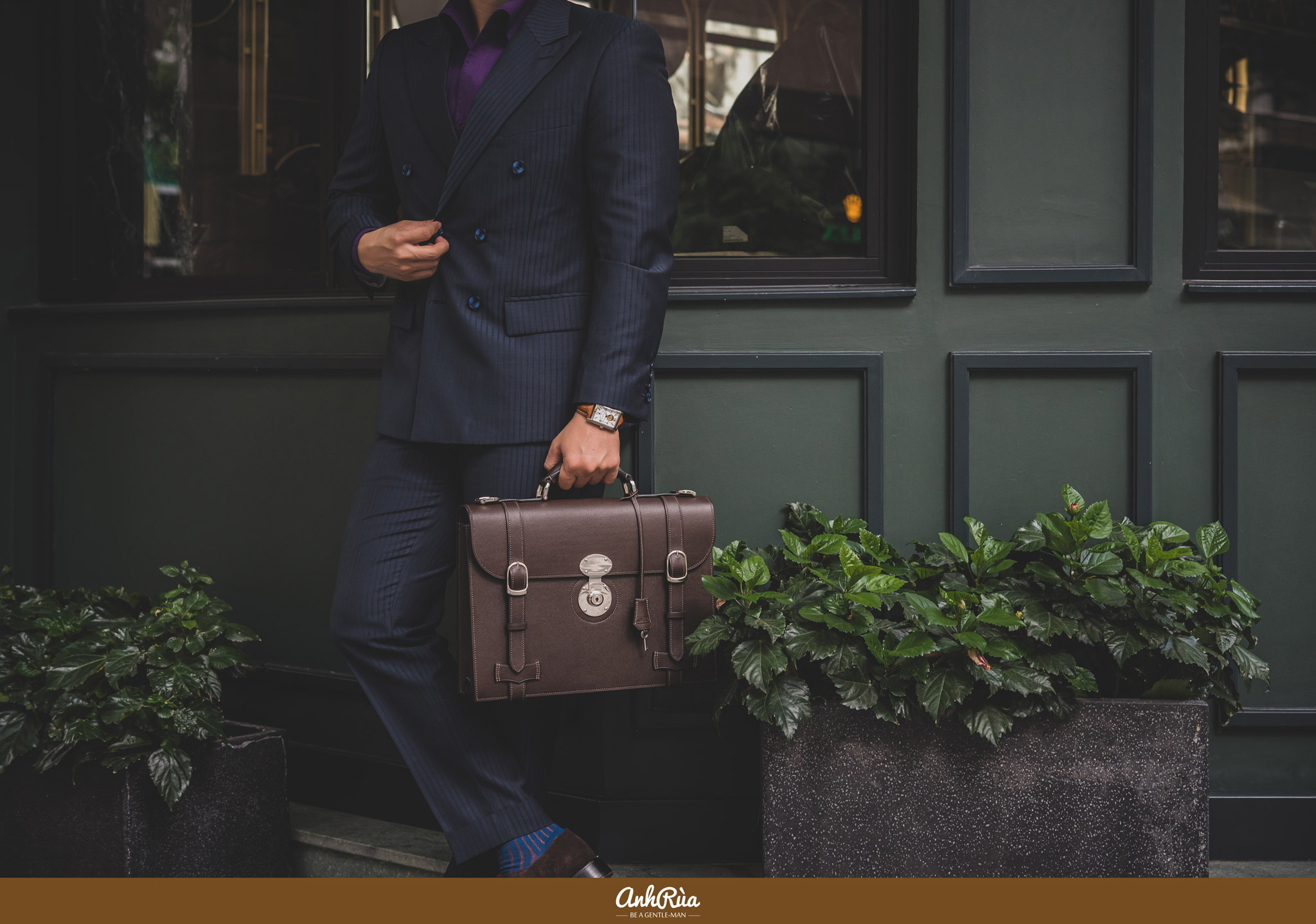 Parisian brown Waprolux English Briefcase