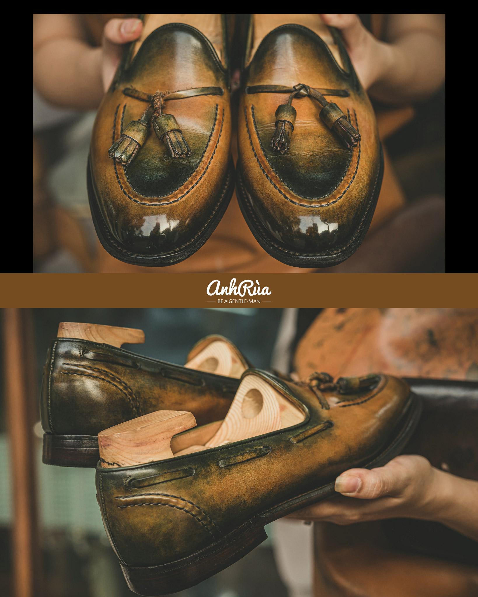 Shading patina bởi Anh Rùa store trên đôi tassel loafers Cheaney & Sons