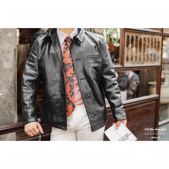 Áo Khoác Da Nam Black Chore Jacket Aero Leather