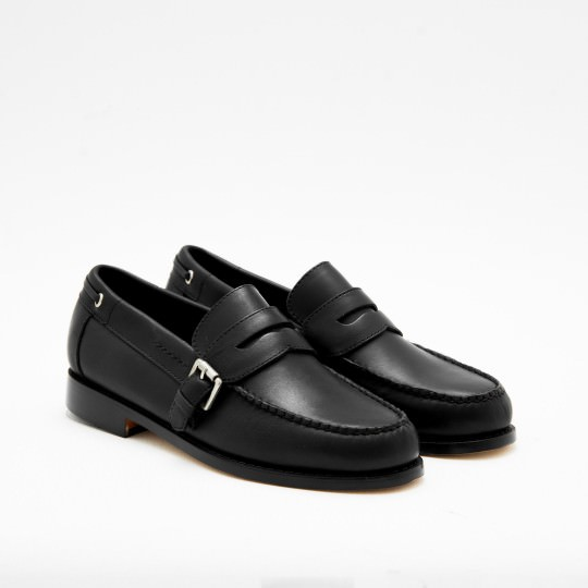 Black Buckle Penny Loafers BASS