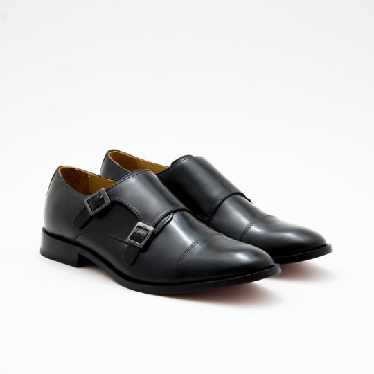 Giày Tây Nam Black Double Monkstrap BASS