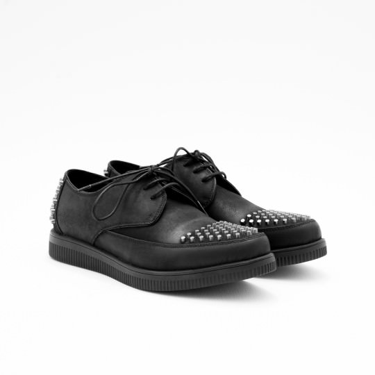 Black Nubuck Derby Dotted Metal-Toe KCNY