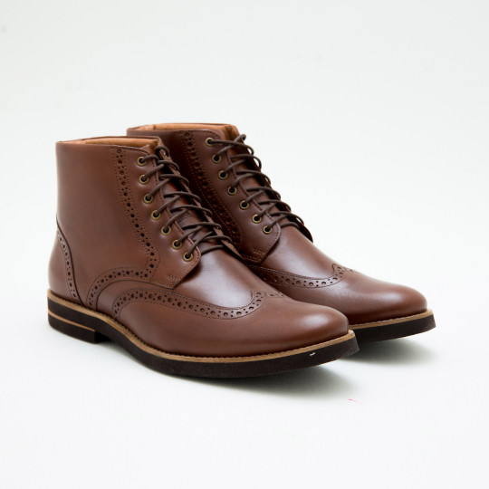 Light Brown Blind Brogues Dress Boots BASS