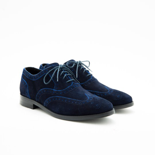 Blue Suede Full Brogue Oxfords Cole Haan