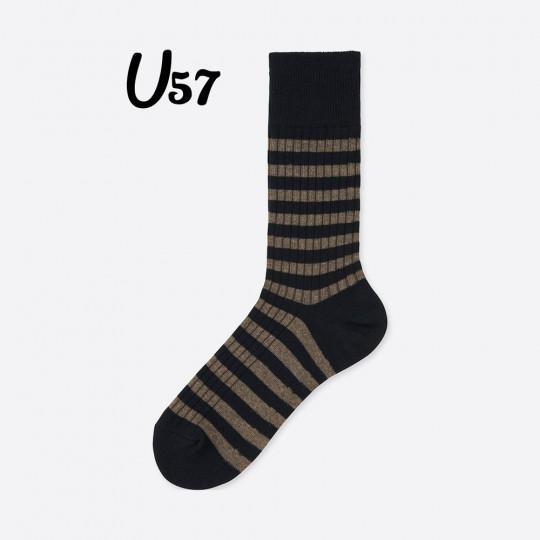 Brown Bold Line Socks Uniqlo