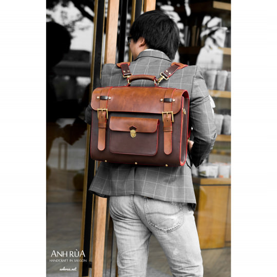 Cặp Công Sở Nam Parisian Brown Messenger Bag 4 ways MTO AR