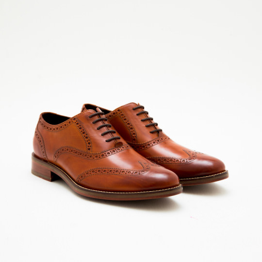 Cognac Full Brogue Oxfords Cole Haan