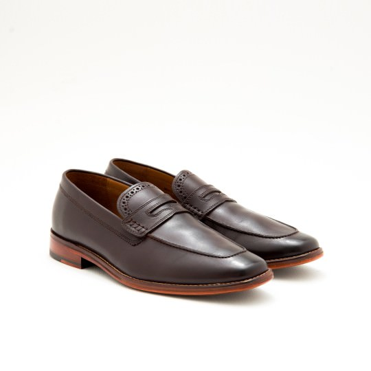 Dark Brown Brogue Penny Loafers Cole Haan
