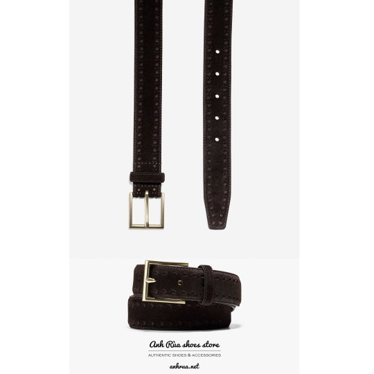 Dây Nịt Thắt Lưng Nam Dark Brown Suede Brogue Belt Cole Haan
