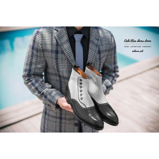 Giày Bốt Nam Black White Half Brogue Button Boots J.FitzPatrick