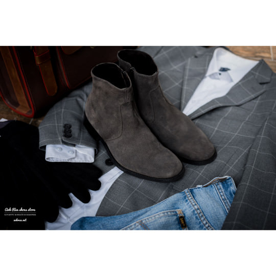 Giày Bốt Nam Grey Ankle Zip Boots KCNY