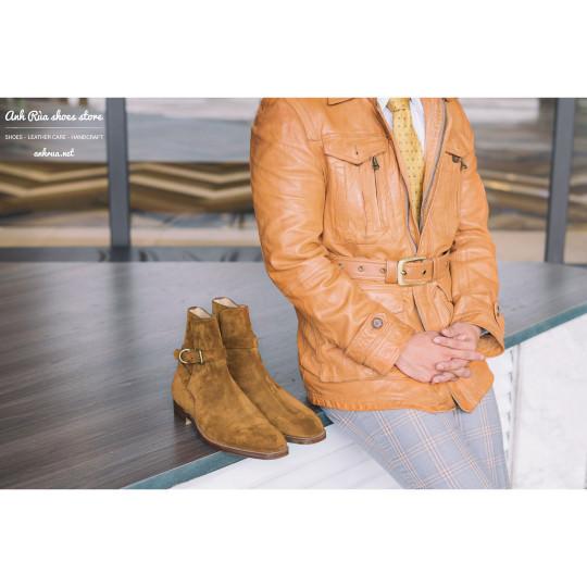 Giày Bốt Nam Light Brown Suede Jodhpur Boots Edward Green for Ralph Lauren Purple Label