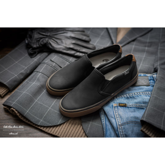 Giày Lười Nam Black Slipons BASS
