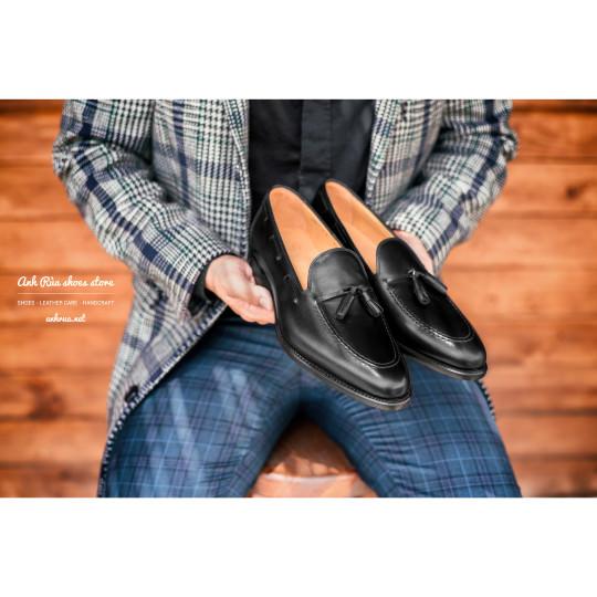 Giày Lười Nam Black Tassel Loafers LodinG