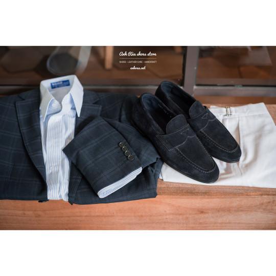 Giày Lười Nam Suede Navy Penny Loafers Santoni