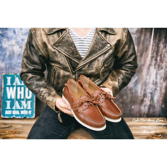 Giày Thuyền Nam Cognac Boat Shoes Polo Ralph Lauren