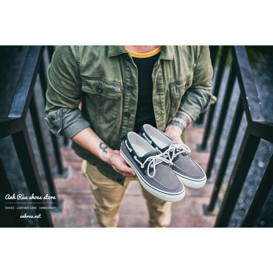 Giày Thuyền Nam Grey Boat Shoes Bass
