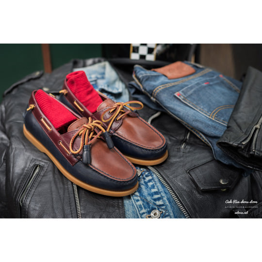 Giày Thuyền Nam Navy Brown Boat Shoes Polo Ralph Lauren