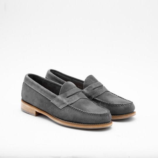Grey Suede Penny Loafers BASS