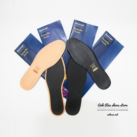 Lót giày bằng da màu nude có lớp than hoạt tính Saphir
