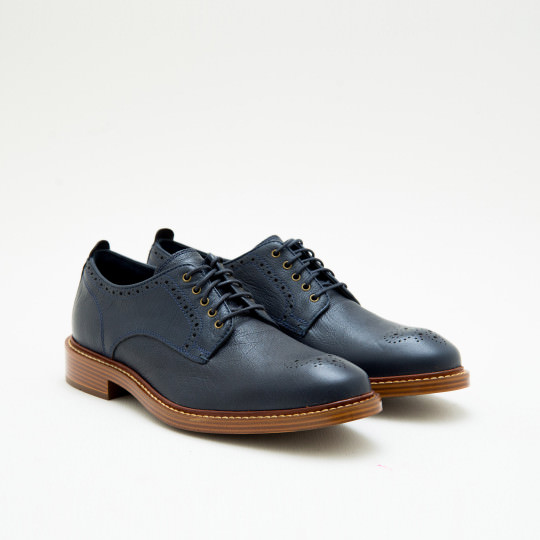 Navy Derby plain-toe with medallion Cole Haan
