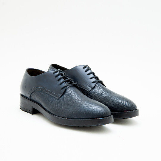 Navy Embossed Lizard Plaintoe Derby KCC
