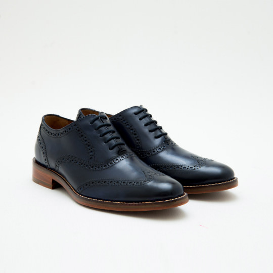 Navy Full Brogue Oxfords Cole Haan